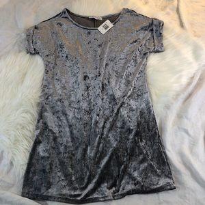 Grey Crushed Velvet Mini Dress